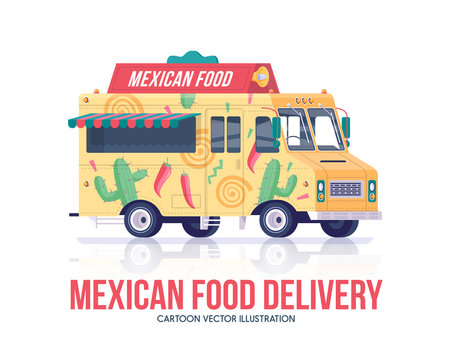 Mexican food truck. National traditional mexican cuisine wagon. Delivery service. Street cuisine. Flat vector illustration.