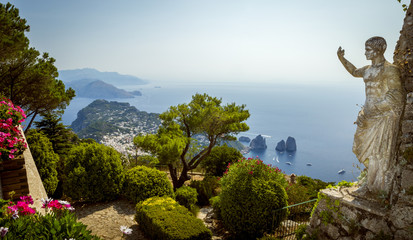 Panorama of Capri island from Mount Solaro, Italy