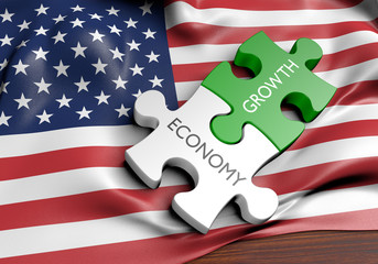 United States economy and financial market growth concept, 3D rendering