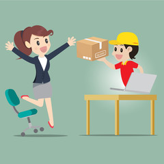 Business woman jump for kind shopping online and receive product delivery.Vector cartoon business concept.