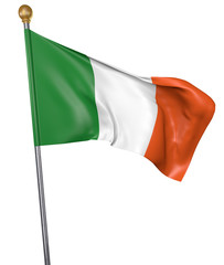 National flag for country of Ireland isolated on white background, 3D rendering