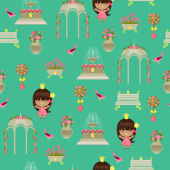 Royal garden with princess seamless pattern