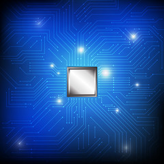 Vector : Electronic circuit and chip on blue background