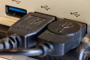 Close up port of computer