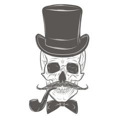 Skull vector. Gentleman skull
