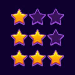 Vector cartoon star icons set. Applicable for game, ui, banner. Eps10 cartoon vector star isolated.