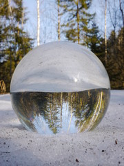 bowl on snow which is mirror inverted
