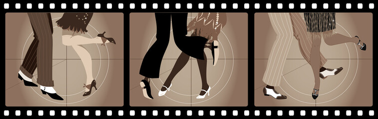 Wall Mural - Legs of people in 1920s clothes dancing the Charleston in old movie picture frames, EPS 8 vector illustration, no transparencies