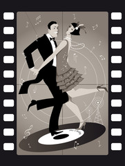 Fototapete - A couple dressed in 1920s fashion dancing the Charleston on a vinyl record in an old movie frame, EPS 8 vector illustration, no transoparencies