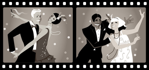 Wall Mural - Portraits of two couples dressed in 1920s fashion dancing in an old movie frames, EPS 8 vector illustration, no transparencies