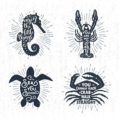 Hand drawn textured vintage labels set with sea horse, lobster, turtle, crab vector illustrations, and inspirational lettering.