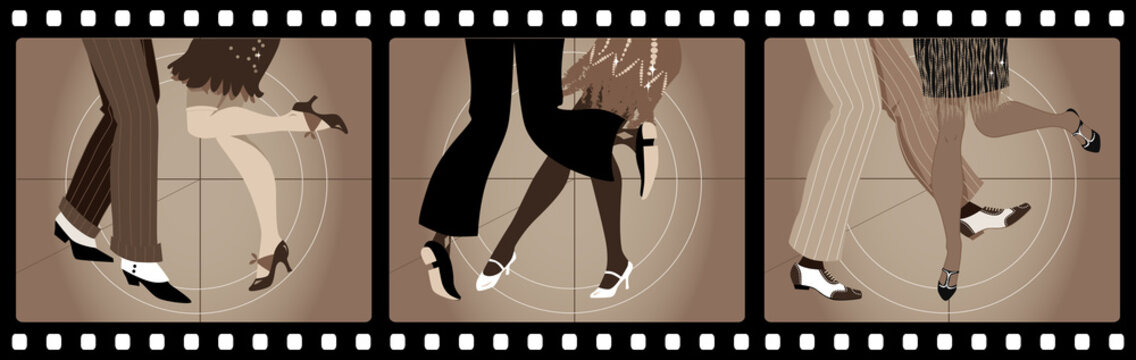 Legs of people in 1920s clothes dancing the Charleston in old movie picture frames, EPS 8 vector illustration, no transparencies