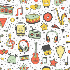 Vector musical pattern, doodle style. Seamless music texture