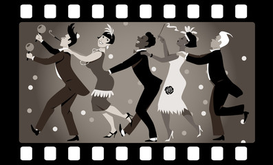 Wall Mural - Group of people dressed in 1920s fashion dancing in a conga line in an old movie frame, EPS 8 vector illustration, no transparencies