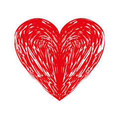 heart love romance passion amour red sketch vector illustration