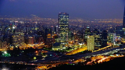sunset and night lights in Santiago Chile