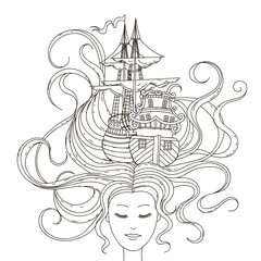 Hand, drawing, isolated, objects, on, white, background., Vector, illustration., The, girl, with, ship, in, her, hair., Marine, theme., Coloring, book