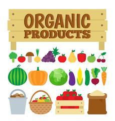 organic products vegetables fruit set