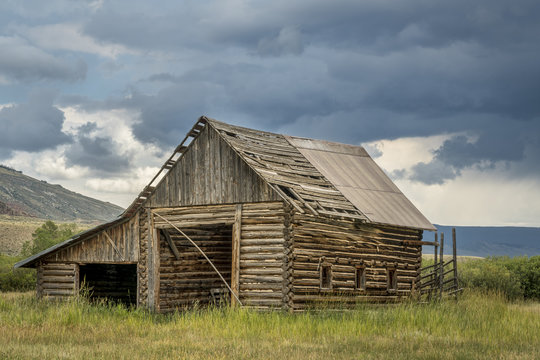 old rustic log barn