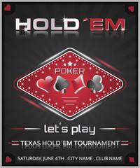 Texas holdem poker tournament poster.