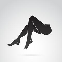 Woman leg vector icon.