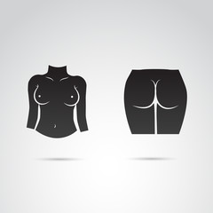 Breast and ass vector icon.