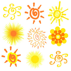 Set of decorative sun drawings