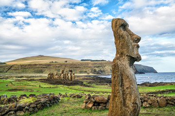 Moais  in Easter Island Chile