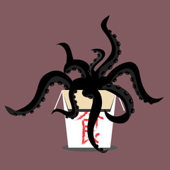 vector illustration of black tentacle monster crawling out of a Chinese food box