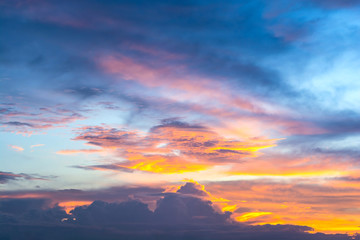 sky with clouds in twilight, landscape in sunset.