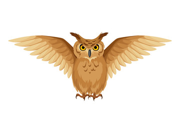 Vector brown owl with open wings isolated on a white background.