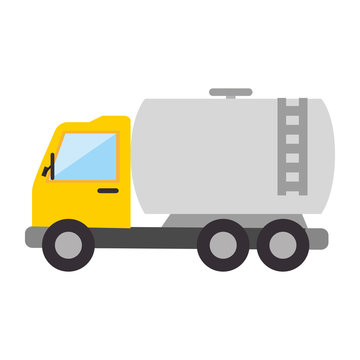 truck gas station cargo oil vehicle industry vector illustration