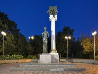 Tomsk, Russia. Monument to the Students of Tomsk or Monument to Saint Tatiana, a patroness of students, in the evening.