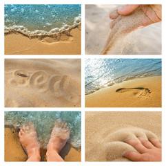 Set of photos of beach sea tour.