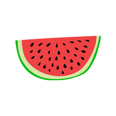 Watermelon slice. Cartoon style vector illustration