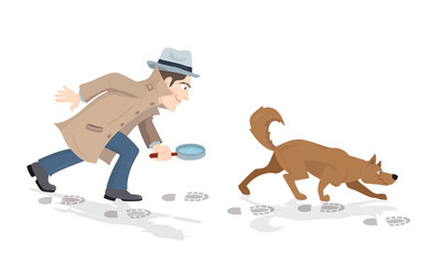 Vector cartoon of detective with magnifying glass and tracker dog