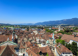 View from the tower of the St. Ursus Cathedral in Solothurn, Switzerland