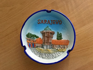 The ashtray on the table as souvenir from travel in the Sarajevo