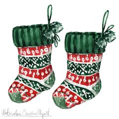 Poster Waterverf Illustraties Watercolor Christmas Clipart - Socks