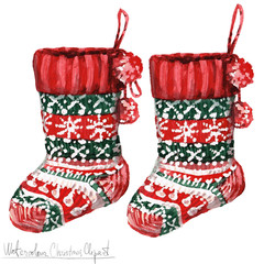 Watercolor Christmas Clipart - Socks