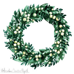 Watercolor Christmas Clipart - Wreath