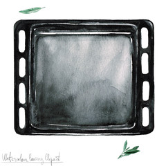Watercolor Kitchenware Clipart - Baking Sheet
