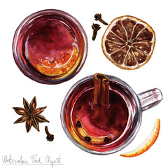 Watercolor Food Clipart - Mulled wine