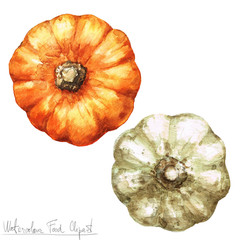 Poster Waterverf Illustraties Watercolor Food Clipart - Pumpkin