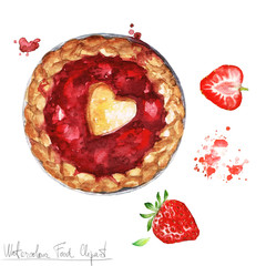 Watercolor Food Clipart - Strawberry Pie