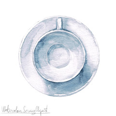 Watercolor Kitchenware Clipart - Cup and Saucer