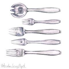 Poster Waterverf Illustraties Watercolor Kitchenware Clipart - Cutlery