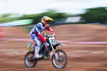 Motion blurred of motocross competition