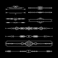 Vintage borders. Set of calligraphic decorative vector dividers