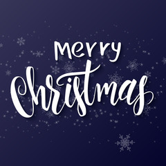 Vector hand drawn lettering - merry christmas - on a gradient background with flying snowflakes